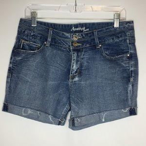 Amethyst 9 denim jean shorts raw hem stretch